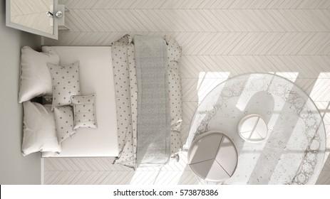 Classic bedroom, minimalistic scandinavian interior design, top view, 3d illustration