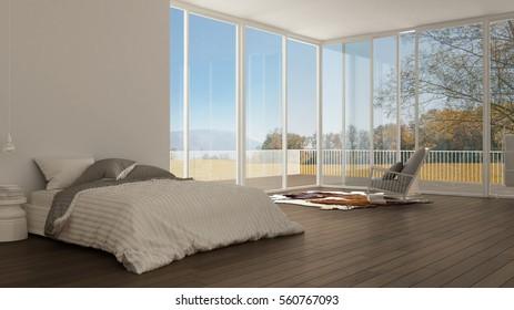 Classic Bedroom Minimalist White Interior Design Stockillustration New Big Bedrooms Model Interior