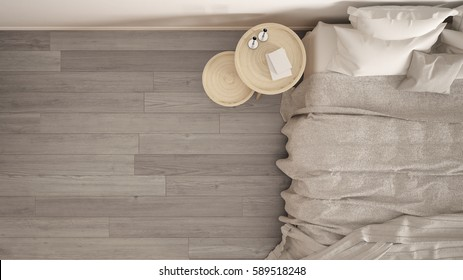 Classic bedroom, scandinavian modern style, minimalistic interior design, background, close-up, top view, 3d illustration
