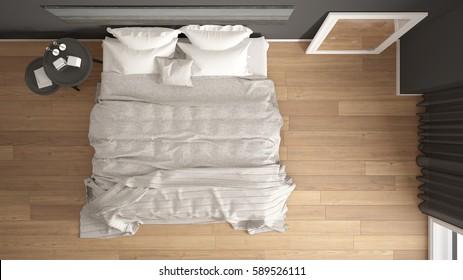 Classic bedroom, scandinavian modern style, minimalistic interior design, background, top view, 3d illustration