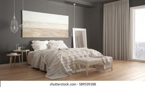 classic bedroom scandinavian modern style minimalistic interior design 3d illustration