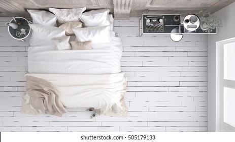 Classic bedroom, top view, 3d illustration