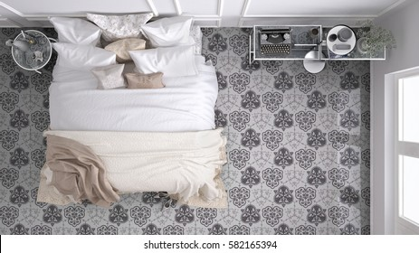Classic bedroom, top view, with marble old vintage gray tiles, 3d illustration