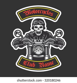 Classic biker embroidery for jacket. Motorcycle theme