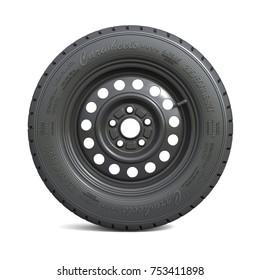 Classic black car wheel isolated on white background. 3d illustration
