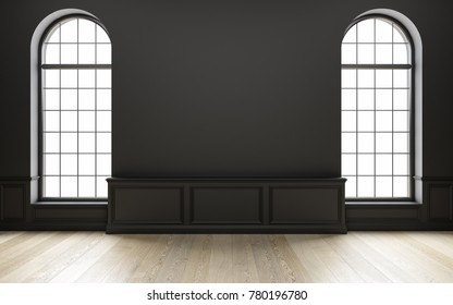 Classic black empty interior with wood floor and window. 3d render illustration.