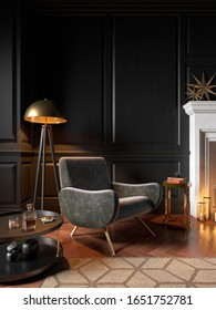 Classic black interior with armchair, fireplace, candle, coffee table, floor lamp, carpet. 3d render illustration mock up.