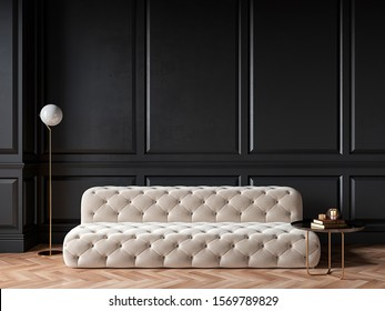 Classic black interior with capitone chester sofa, mouldings, wooden floor, floor lamp, coffee table. 3d render illustration mock up.
