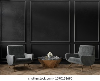 Classic black interior empty room with armchairs coffee table flowers mouldings and wooden floor. 3d render illustration mock up