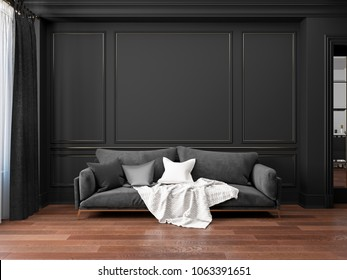 Classic black interior with sofa. 3D render interior mock up.