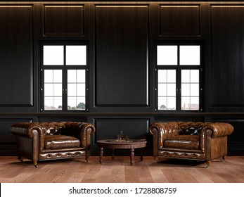 Classic black loft interior with wall panels, coffee table, windows and chesterfield armchairs. 3d render illustration mock up.