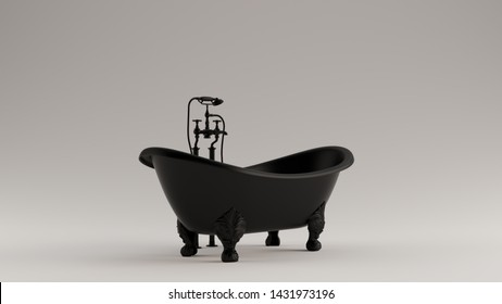 Classic Black Ornate Iron Bath 3d illustration 3d render