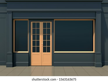 Classic black shopfront with large windows and yellow door. Small business black friday store facade 3D render