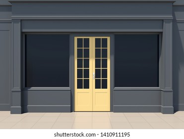 Classic black shopfront with yellow door and large windows. Small business dark store facade 3D render