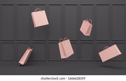 Un magasin noir classique à l'intérieur avec des sacs roses lévitants. Arrière-plan abstrait. Rendu 3d