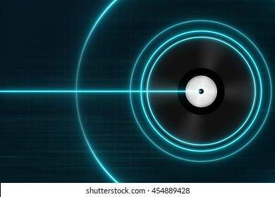 Classic Black Vinyl Records with Blue Light - Electronic Music Concept