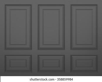 classic black  wall ,3d render