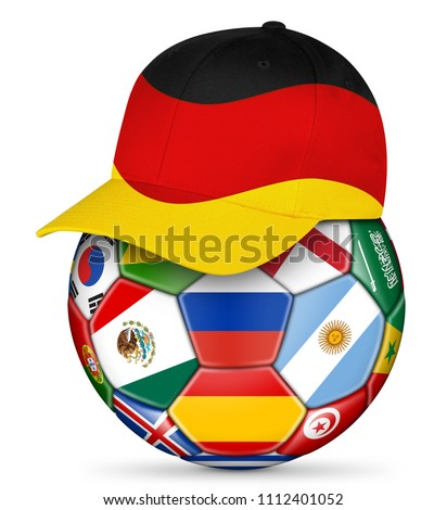 7081d06ac12 Classic black white leather soccer ball with german germany fan baseball cap  isolated background sport football