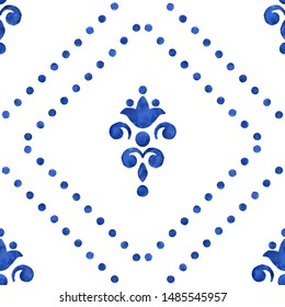 Classic blue 2020 trend color seamless pattern. Watercolor tile on white background. Porcelain painting stylized flowers. Ceramic tiling design with dotted sripes. Repeating ornament with rhombus