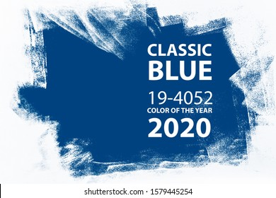classic blue abstract hand painted brush blue white texture, color of the 2020 year