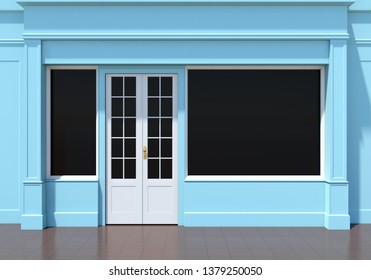 Classic blue shopfront with large windows. Small business blue store facade 3D render