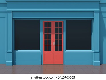 Classic blue shopfront with red door and large windows. Small business blue store facade 3D render