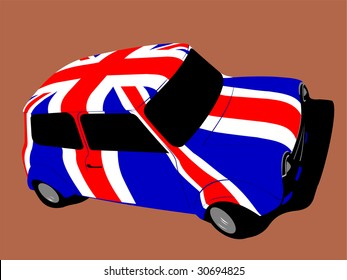 classic british mini car with flag of uk / great britain
