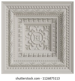 Classic ceiling caisson.White plaster decoration.Digital illustration.3d rendering