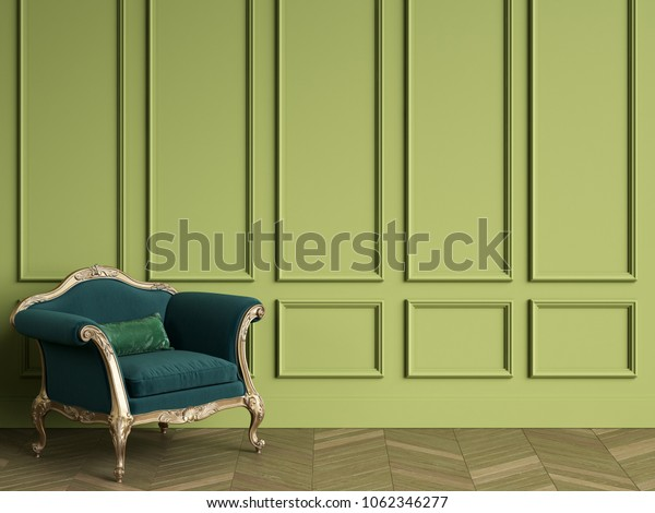 Classic Chair Emerald Green Gold Color Stock Illustration 1062346277