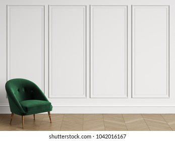 Classic chair in classic interior with copy space.White walls with mouldings. Floor parquet herringbone.Digital Illustration.3d rendering