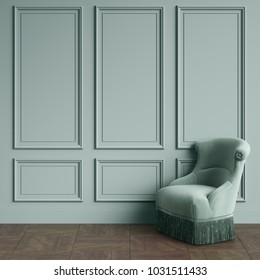 Classic chair in olive color standing in classic interior.Olive green walls with mouldings,floor parquet . Digital illustration.3d rendering
