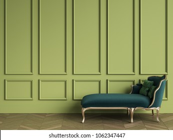 Classic chaise longue in emerald green and gold color in classic interior with copy space.Green walls with mouldings. Floor parquet herringbone.Digital Illustration.3d rendering
