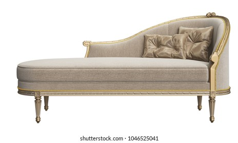 Classic chaise longue isolated on white background.Digital illustration.3d rendering