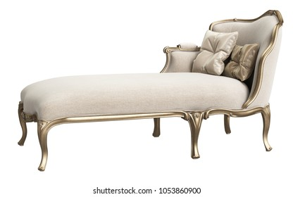 Classic chaise longue isolated on white background. Gilded woodcarving ,beige velvet,silk pillows. Digital illustration. 3d rendering