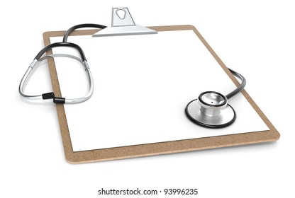 The Classic Clipboard and Stethoscope. Perspective view.
