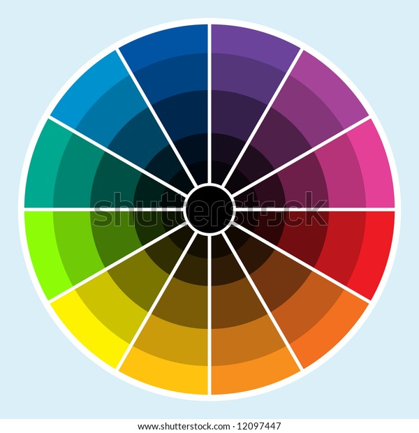 Classic color wheel with colors progressing into the darker shades