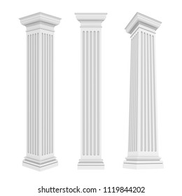 Classic Columns Isolated. 3D rendering