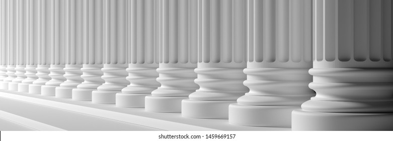 Classic columns and stairs white color marble, banner. Court facade colonade. 3d illustration