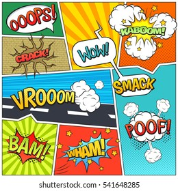 Classic comics book page sample with speech exclamations wow oops bam bubbles patterns composition abstract  illustration