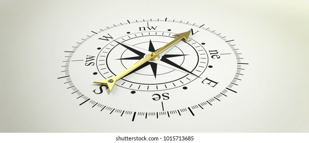 Classic compass with golden arrow pointing at North. 3d illustration