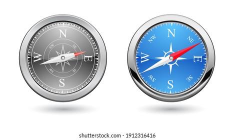 classic compass icon retro design isolated on white