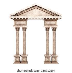 Classic Corinthian Column Arch. 3d rendering.