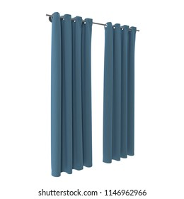 Classic curtain. Isolated on white. 3D illustration
