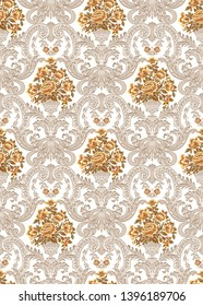 classic damask pattern with framed inside flowers