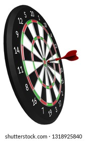 Classic darts board with Arrow isolated on white background 3d illustration