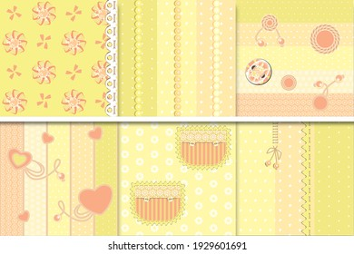 Classic digital scrapbooking paper in classic pastel colors. For wedding, baby birth, birthday party.Greetings and background.Album design.Needlework. Print on fabric, packaging, clothing.Peach color.