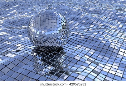 classic discoball floating in blue disco-sea on  waves of mirrors. abstract 3D illustration background.
