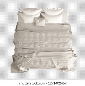 Classic double bed with pillows, duvet and blanket, top view, white and cream interior design, isolated on transparent background, template mock-up, 3d illustration