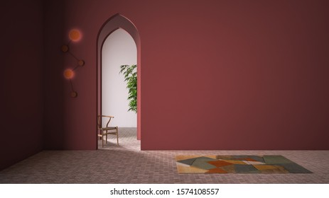 Classic eastern lobby, modern colored hall with stucco walls, interior design archways, empty space with ceramic tiles, carpet, chair and plant, red background with copy space, 3d illustration