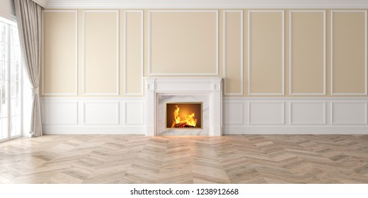 Classic empty beige interior with fireplace, curtain, window, wall panels, 3D render, illustration, mockup, wide picture.
